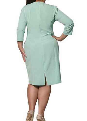 Comfy Top Hollow Oversized Cut Solid Green Tunic Dress Elegant Light Women Out BArBxf