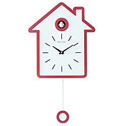 JIUBAJU Cuckoo Pendulum Wall Clock, Nordic Modern Design with House Shape Clock Battery Operated, Wall Colck Decorative for Home/Office/Kitchen/Living Room (Red)