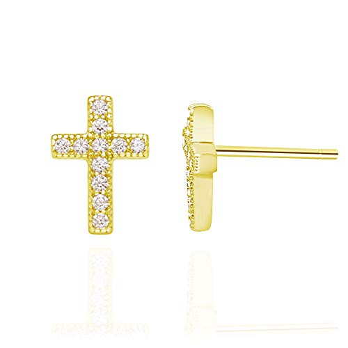 Cupid White Gold Ring - 14k Yellow Gold Plated Sterling Silver Cubic Zirconia Classic Mini Cross Stud Earrings