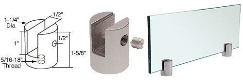 Brushed Stainless Slot Mount (C.R. LAURENCE SM12BS CRL Brushed Stainless Slot Mount Standoff for 1/2