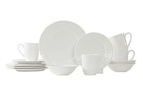 WhitePeony Gardens 16-Piece Bone China Dinnerware Set, Service for 4