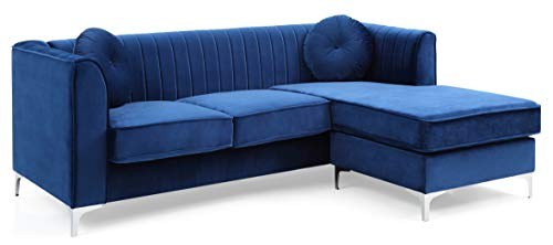 Glory Furniture Delray G791B-SC Sofa Chaise, Navy Blue. Living Room Furniture, 32