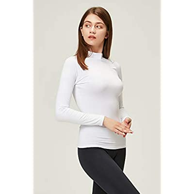 DEVOPS Women's 2 Pack Thermal Heat-Chain Compression Baselayer Tops Mock Turtleneck Long Sleeve T-Shirts at Women's Clothing store