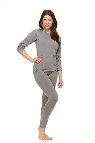 Thermajane Women's Ultra Soft Thermal Underwear Long Johns Set With Fleece Lined (Large, Grey) (Underwear Womens Long Cuddl Duds)