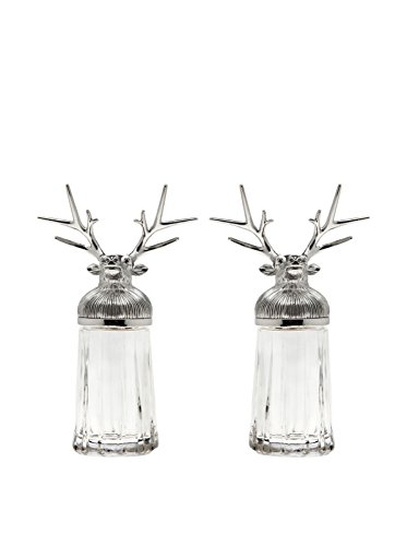 Godinger 7280 Reindeer Head Salt and Pepper, (Pepper Shakers Salt Head)