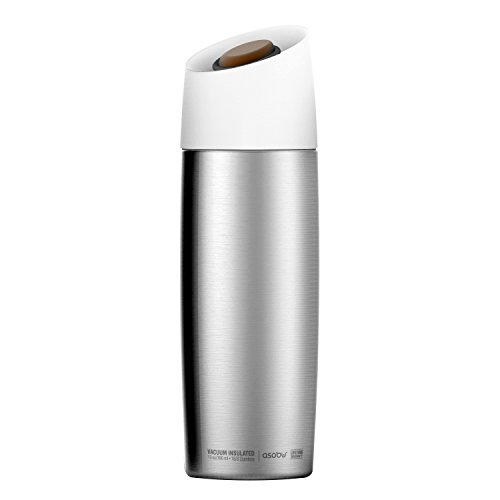 Aves Cup - Asobu 5th Ave Insulated Stainless Steel Coffee Mug - Large 13 Oz Best Travel Spill Proof Coffee Cup (Silver)