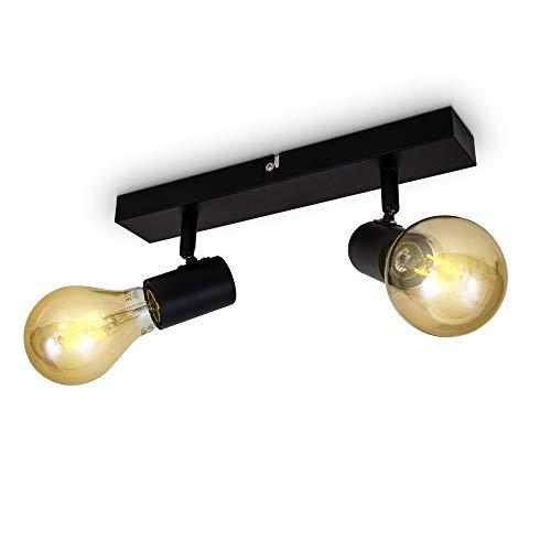 B.K.Licht I Plafondlamp I retro plafondspot met 2 lichts I zwart I spotjes I industrieel I vintage spots draaibar I…