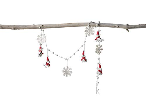 Creative Co-Op Cream & Red Wool Felt Dogs & Snowflakes Garland, Red