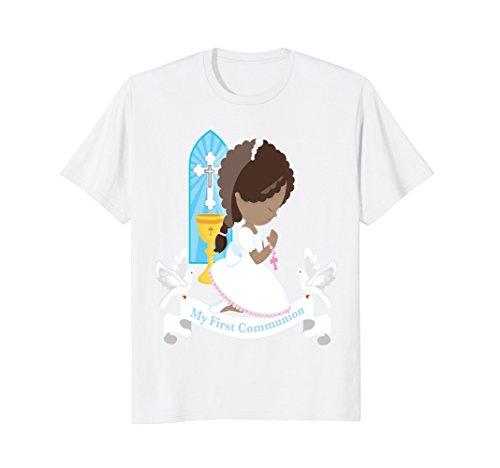 Kneeling Girl (Mens First Communion Shirt Gift Kids Daughter Black Girl Kneeling Small White)