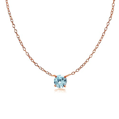 Ice Gems Rose Gold Flashed Sterling Silver Small Dainty Round Blue Topaz Choker Necklace