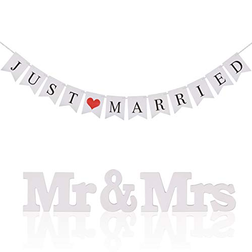 (Just Married Wedding Banner KAKOO Bunting Banners Pennant Vintage Hanging Garland Decoration with Mr Mrs Signs Letters for Reception Bridal Shower and Engagement Photo Garden Outdoor)