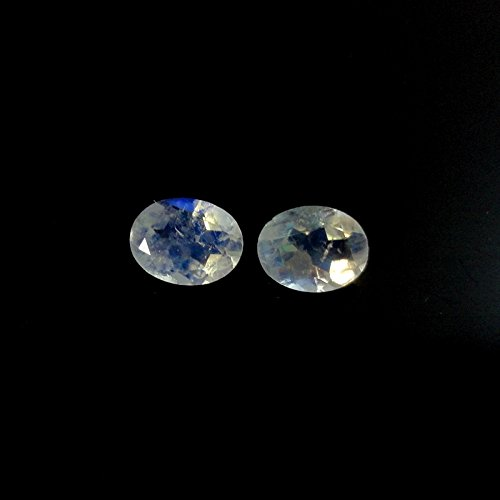 Matching Pair Rainbow Moonstone Faceted Approx.1.88 Carat Oval 8x6mm (8x6mm Oval Cabochon Earring)