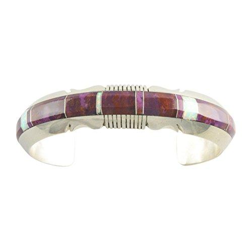 (Steve Francisco Sterling Silver Spiny Oyster & Opal Inlay Cuff Bracelet Navajo)