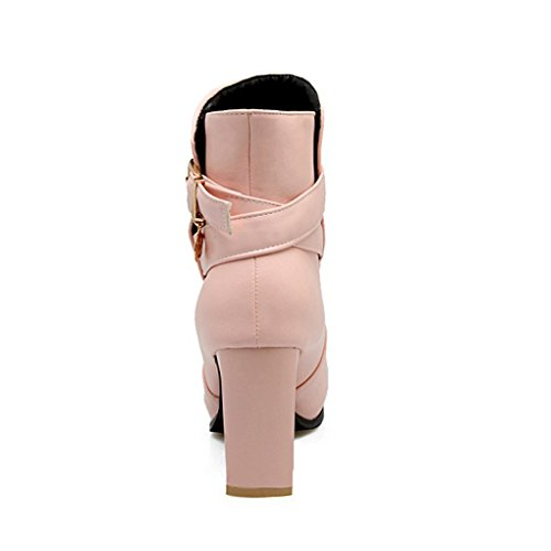 XZ Autumn and Winter High Heels Thick Heel Martin Boots Short Boots Pink cxpqzaN