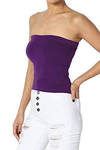 TheMogan Junior's Built in Shelf Bra No-Slip Cotton Crop Tube Top Dark Purple S