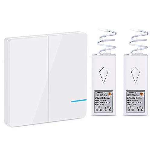 Wsdcam Wireless Smart Light Switch Kit WiFi Light Switch Works with Alexa, APP Controlled, Voice Control, Remote Control Ceiling Fan Lamp LED Bulb Light Switches Outdoor IP54 Waterproof - 2 Gang
