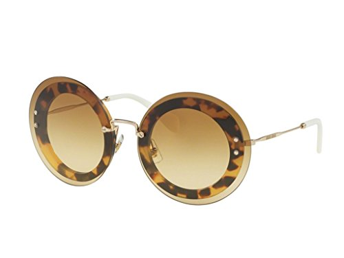 Miu Miu Women's Round Transparent Sunglasses, Light Havana/Brown, One - Miu Sunglasses Round Miu