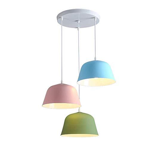 Wapipey Nordic Denmark Creative Personality Macaron Metal Chandeliers Pendant Light 3-Lights Wrought Iron Restaurant Droplight E27 Simple Modern Art Bar Pot Hanging Lamp
