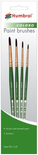 Humbrol AG4050 Coloro Paint Brushes Sizes 00,1,4,8