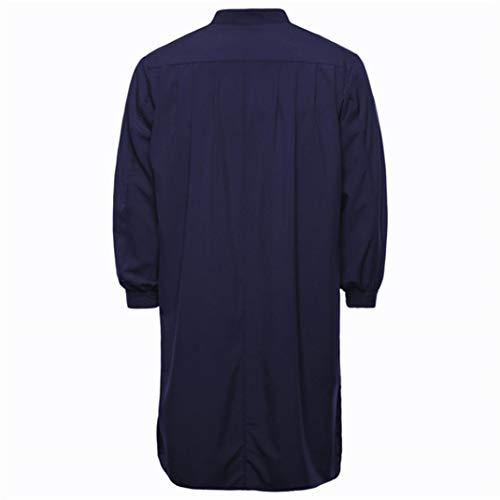 Yunyoud Maschio Marino Unita100 Blu Cotone Camicia Casual A Musulmano Arabo Islamicotinta Moda Bell'uomo Maniche Confortevole Abbigliamento Sciolto Uomo E Felpe Lunghe Autunno zz1RrqU4w