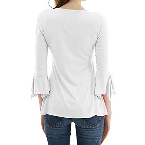 Chemise Boutons Shirt Slim col MRULIC Femme Tee Flare 3 V 4 Blanc Blouse Manches Tops Of7fxRw