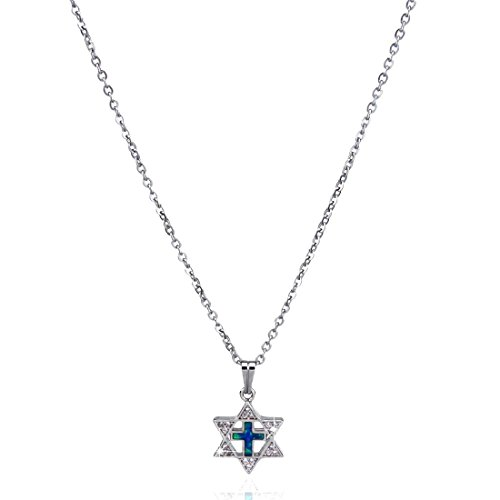 Charm Star Elegant David Of (Blue Opal Star of David with Cross Necklace, Jewish Pendant, Hanukkah)