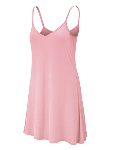 WDR1090 Womens V Neck Spaghetti Strap Tunic Short Dress S Pink by Lock and Love (Image #7)'