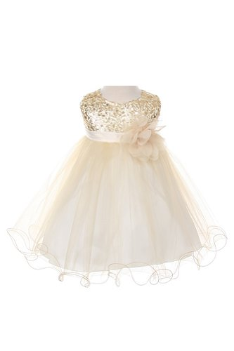 Absolutely Beautiful Sequined Bodice with Double Tulle Skirt - White And Gold Dress Kids