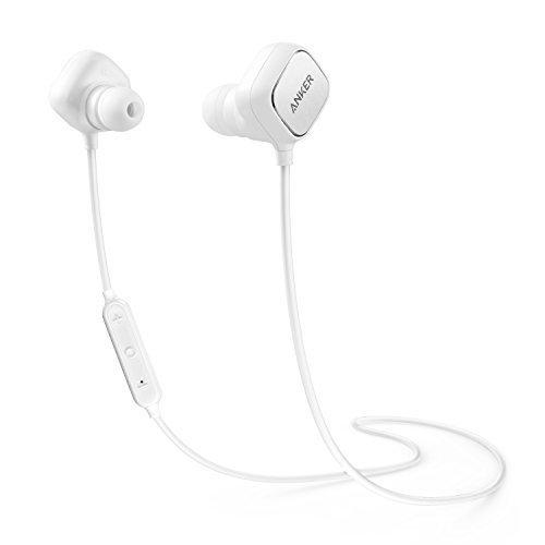 Anker SoundBuds Sport IE20, In Ear Bluetooth Kopfhörer Ohrhörer mit Smart Magnet Funktion, Kabellose Headset mit Mikrofon, aptX, CVC 6.0 Geräusch Reduzierung, 8-Stunden-Spielzeit (Weiß)