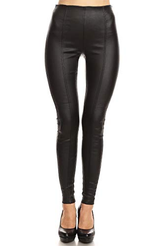 Design by Olivia Women's Sexy Faux Leather Stretch Skinny Jeggings Black M