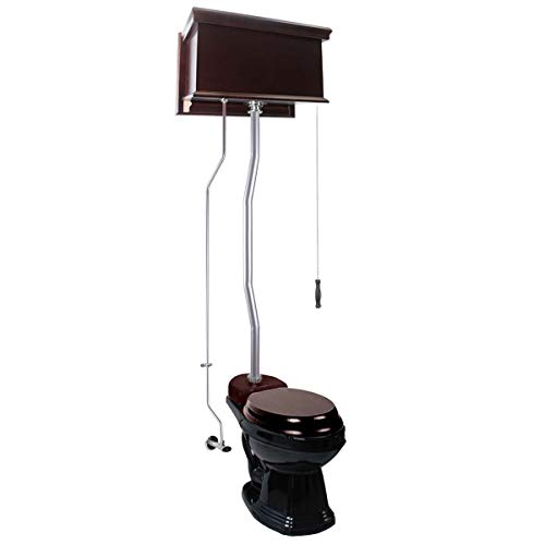 Dark Oak Flat High Tank Pull Chain Toilet With Black Round Bowl And Satin Z-Pipe