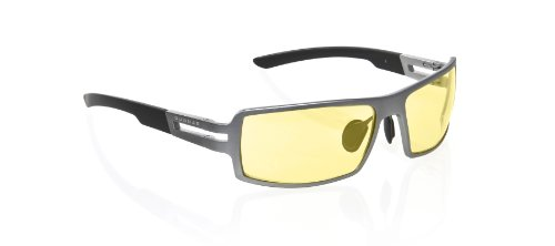 Gunnar Optiks RPG-05401 RPG Full Rim Advanced Video Gaming Glasses with Quad-Core Hinge Design and Amber Lens Tint, Gunmetal Frame Finish