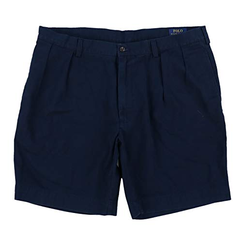 Pleated Chino Shorts - Polo Ralph Lauren Mens Classic Fit 9 Inch Pleated Chino Shorts (38, Aviator Navy)