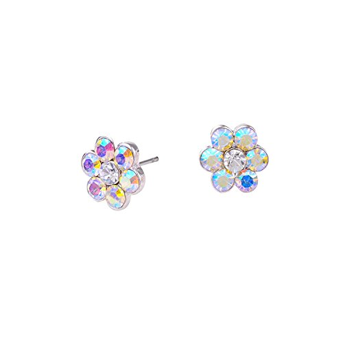 idal Earrings Womens Silver Aurora Borealis Small Flower Stud Earring (Aurora Borealis Flower)