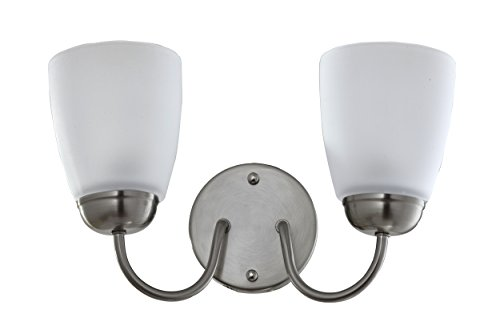 Satin Etched 2 Light - IN HOME 2-Light VANITY/BATHROOM FIXTURE VF39, Brushed Nickel Finish with Satin Etched Glass Shade, UL listed