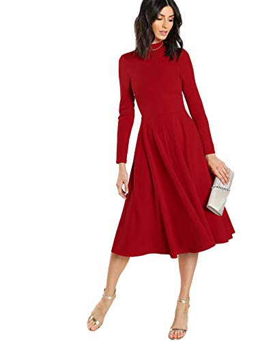 Floerns Women's High Neck Fit & Flare Midi Dress Red-1 L