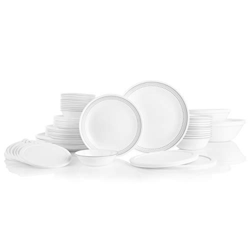 Corelle 78-Piece Service for 12, Chip Resistant, Mystic Gray Dinnerware Set