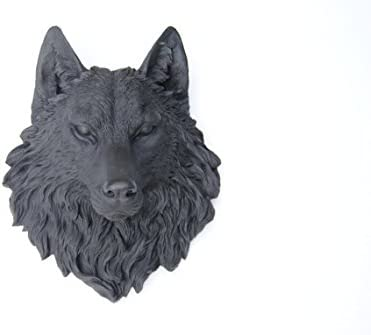 Near and Deer Faux Taxidermy Wolf Head Wall Mount