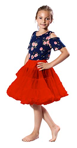 Malco Modes Girls Luxury Soft Chiffon Petticoat Underskirt for Weddings, Easter Dresses, Poodle and Dance Skirts (Red, X-Small)
