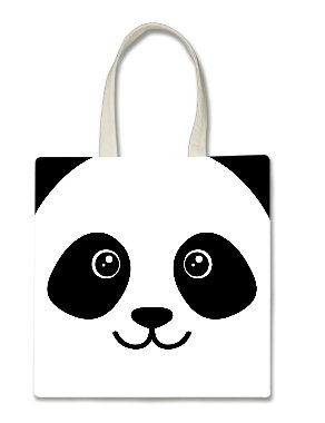 (Panda Bear Face Cute Halloween Trick Or Treat Polyester White Tote Bag 15x16x 3.5)