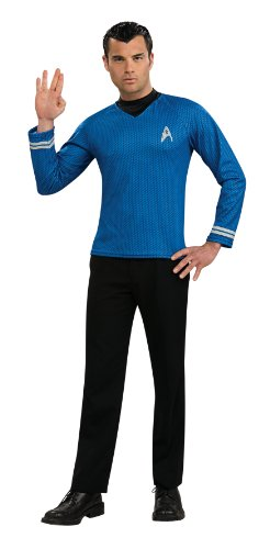 Adult Star Trek Uniform Costumes (Rubie's Costume Star Trek Into Darkness Spock Shirt With Emblem, Blue, Large)