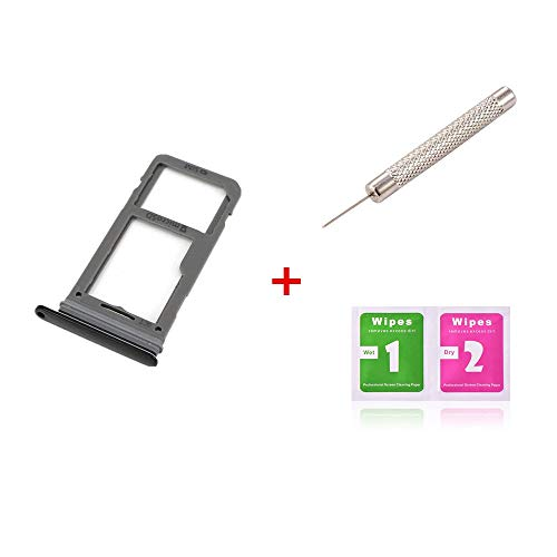 Sim Card & Micro SD Holder Slot Tray Replacement for Samsung Galaxy S8 G950A G950T G950 / S8 Plus S8+ G955A G955T G955 (All Carriers)+ Remover Open Eject Pin+Wipes (Black)