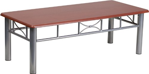 Contemporary Mahogany Coffee Table (Flash Furniture Mahogany Laminate Coffee Table with Silver Steel Frame)