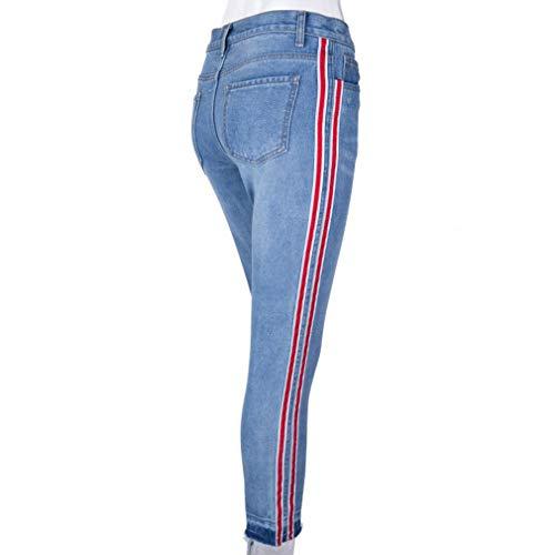 con Denim Media Streetwear L Pantaloni Azzurro Vita Donna A M Pantaloni Moda Jeans Casuale Lungo Tasche Retro S Azzurro Slim Fit Pantaloni Stretch 4qtS8TtwP