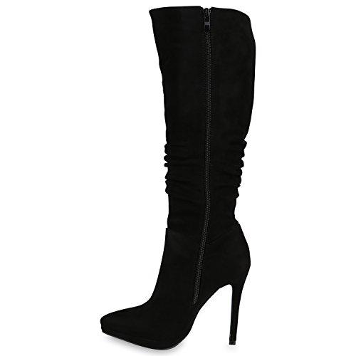 Damen Stiefel High Heels Schuhe Veloursleder-Optik Boots Stilettos Flandell Schwarz