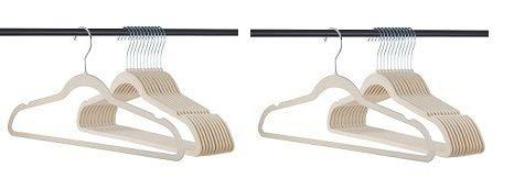 Premium Velvet Hangers Heavy duty - 50 Pack Clothes Hangers - Non slip IVORY Suit hangers - Clothes Hanger Hook swivel 360 - Ultra Thin (2-Pack)