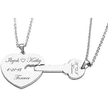 7033cf90e6 Amazon.com : Personalized Silver Heart & Key Necklace Set : Key Tags ...