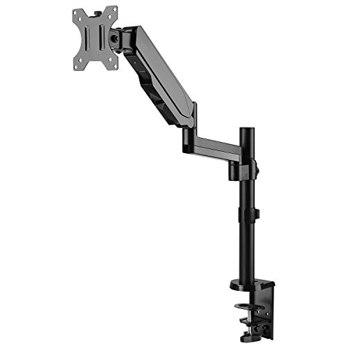 "WALI Premium Single LCD Monitor Desk Mount Fully Adjustable Gas Spring Stand for one Screen up to 32"", 17.6lbs Capacity (GSDM001), Black"