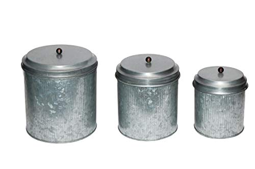- Benzara BM82052 Galvanized Metal Lidded Canister with Ribbed Pattern, Set of Three, Gray