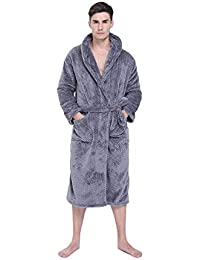 Mens Plush Fleece Robe Solid Warm Shawl Collar Long Hotel Spa Bathrobes 6e981a8f7